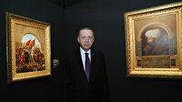 Cumhurbaşkanı Erdoğan'dan Fatih Sultan Mehmet Han ve İstanbul'un fethi tablosu arasında poz
