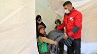 İdlib'deki selzedelere Kızılay'dan yardım