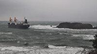 Beykoz'da kargo gemisinin karaya oturduğu anlar kameraya yansıdı