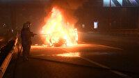Haliç Köprüsü'nde korku dolu anlar: Seyir halindeki otomobil alev alev yandı