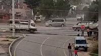Antalya'da panelvan minibüsle caddede drift yapan maganda kamerada