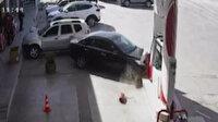Tokat'ta kontrolden çıkan araç akaryakıt istasyonuna daldı