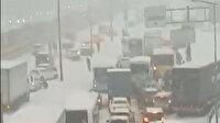 İstanbul'da karla kapanan yolda araçlar mahsur kaldı kilometrelerce uzanan kuyruk oluştu