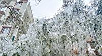 Su hortumu patlayınca her yer buzdan heykele döndü