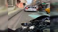 Konvoyda ön kaldıran motosikletlinin, gelin arabasına çarpma anı kask kamerasında