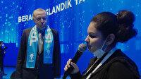 """Cumhurbaşkanı Erdoğan, görme engelli Tuana Şahin'in seslendirdiği """"Beraber yürüdük biz bu yollarda"""" şarkısına eşlik etti"""