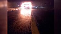Pendik'te plastik yüklü kamyon alev alev yandı