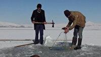 Bitlis'te donan Nazik Gölü'nde Eskimo usulü balık avı