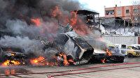 Bursa'da çıkan yangın gökyüzünü kapladı: Birçok araç küle döndü