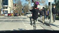 Kocaeli'de tek teker üzerinde trafiği tehlikeye atan genç kamerada