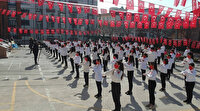 """Samsun'da 100 öğrencinin katılımıyla """"İstiklal Marşı"""" işaret diliyle okundu"""