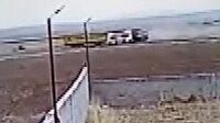Niğde-Nevşehir kara yolunda TIR'ların kafa kafaya çarpıştığı kaza kamerada