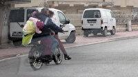 Konya'da sokağa çıkma kısıtlamasında motosiklet üzerinde tehlikeli yolculuk