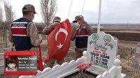 Jandarma ekipleri şehitlerin mezarlarını ziyaret ederek Türk bayraklarını yeniledi