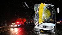 Bolu'da yolcu otobüsü arızalanan kamyona çarptı: Üç yaralı