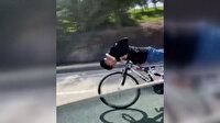 Bisikleti yatarak kullanan gençlere vatandaştan tepki: Arizona kertenkelelerine her yerde rastlayabiliyoruz