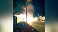 Ukrayna'da minibüsteki patlama sonucu yangın çıktı