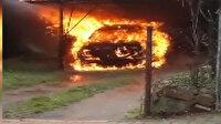 Ümraniye'de park halindeki otomobil alev topuna döndü