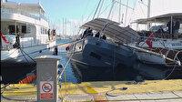 Muğla'da su alan milyonluk tekne yan yattı