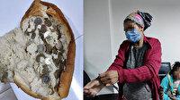 Aksaray'da dilencinin topladığı paralar ekmek arasından çıktı