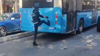 Çekmeköy'de yol kavgası: Defalarca otobüsü tekmeledi