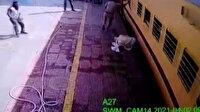 Hareket halindeki trenden düşen Hintliyi polis kurtardı