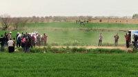 Şanlıurfa'da tarlalar drone ile ilaçlandı