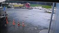 Hafriyat kamyonu önüne aldığı otomobili metrelerce böyle sürükledi
