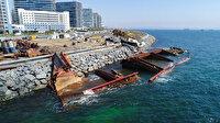 Karaya oturan dev gemi su altında parçalanıyor