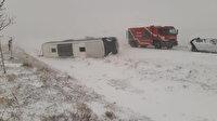 Konya'da yolcu otobüsü şarampole devrildi: Biri ağır altı yaralı var