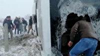 Konya'da turistleri taşıyan otobüs şarampole uçtu: Yaralılar aracın kırılan ön camından çıkarılabildi