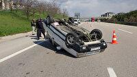 Otomobil takla attı: Emniyet kemeri takılı sürücünün burnu bile kanamadı
