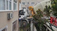 İstanbul Beşiktaş'ta beton mikseri 6 katlı binaya çarptı