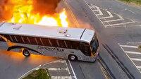 Brezilya'da TIR'ın çarptığı otobüs alev aldı: Kaza anı kamerada