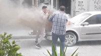 Beyoğlu'nda park halindeki otomobil alev alev yandı: Kaputu açan vatandaş parlayan alevden son anda kurtuldu