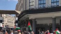 Brüksel'de İsrail hapishanelerinde tutuklu bulunan Filistinliler için destek gösterisi düzenlendi