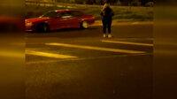 Kısıtlama saatlerinde kız arkadaşının etrafında drift yapan sürücüye tepki