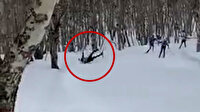 Rusya'da ağaca çarpan kayakçının feci ölümü kamerada