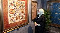 """Emine Erdoğan """"Kalbe Dokunan İlmek"""" sergisini gezdi"""