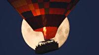 Kapadokya'da 'Süper Ay' görsel şölen oluşturdu