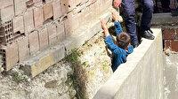 Oyun oynarken iki duvar arasına sıkıştı: İtfaiye kurtardı