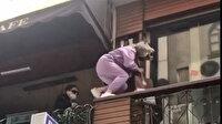 Polis kafeye baskın yapınca balkondan balkona kaçmaya çalıştılar