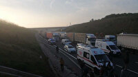 Kuzey Marmara Otoyolu'nu trafiğe kapatan kaza: Kireç yüklü TIR devrildi