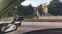 Motosikletli kuryeden akılalmaz yolculuk: Bir ayağını motosikletin gidon kısmına koydu