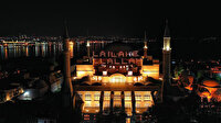 Ayasofya-i Kebir Camii'nde ilk mahya yandı