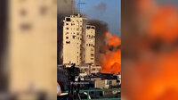 Gazze'deki Al-Shorouk Kulesi'nin İsrail tarafından bombalandığı anların en net görüntüsü