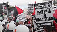 Yunanistan'da, işgalci İsrail'in Filistinlilere yönelik saldırıları protesto edildi