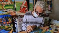 Suriyeli engelli ressam, geçimini yaptığı tablolarla sağlıyor
