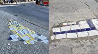 Kadıköy Belediyesi kaldırım ve yollardaki yarıklara eski tuvalet fayanslarını yerleştirdi