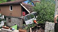 Ardeşen'de faciadan dönüldü: Kontrolden çıkan beton mikseri markete daldı